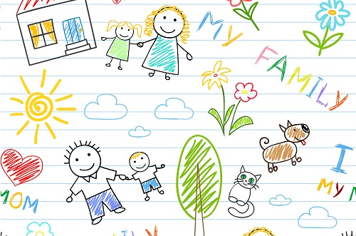 Seamless background – happy family