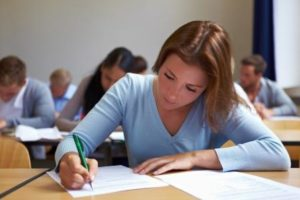 woman taking test