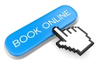 Blue button Book Online and hand cursor