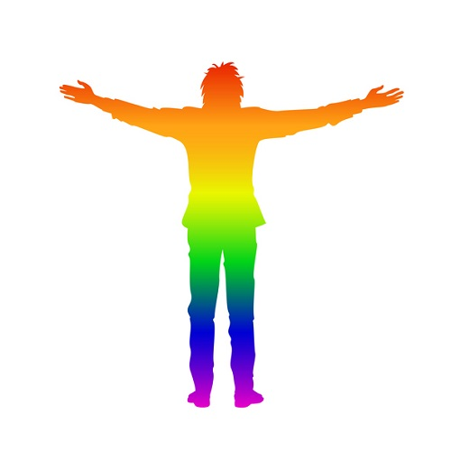 Isolated rainbow silhouette of man with open arms