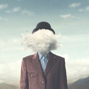 CBT and depression - man with head covered by clouds